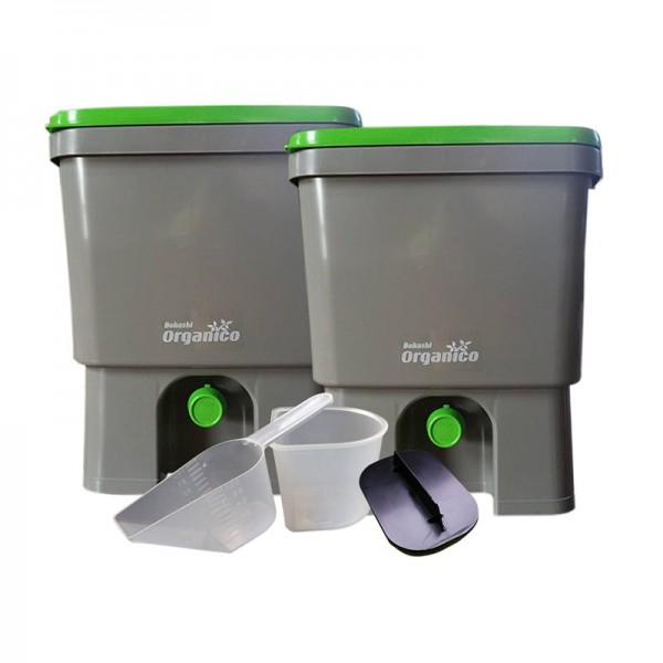Bokashi-Kücheneimer Organico dunkel - Doppelpack
