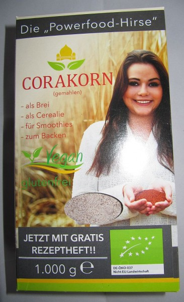 Corakorn biologisch gemahlen 1 kg Packung