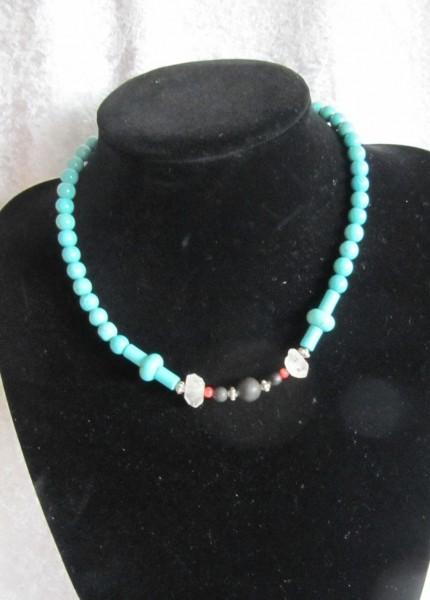 Türkiskugeln (Howlith) mit 2 Herkheimer Diamanten , Schungit und Koralle