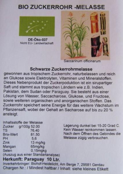 Zuckerrohrmelasse biologisch 10 Liter Kanister Paraguay