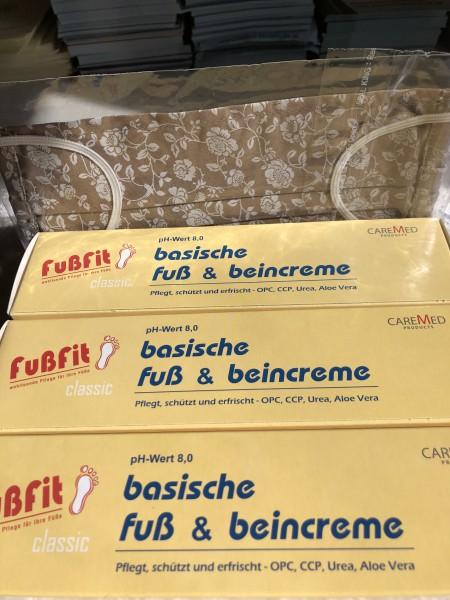 Caremed basische Fuss-u.Beincreme 150g - 3 Stück + Mund-und Nasenbedeckung