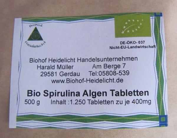 Spirulina Algen Tabletten 500g Beutel, biologisch